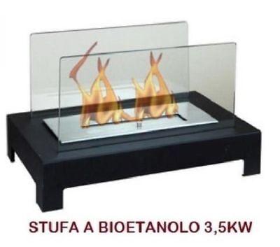 STUFA CAMINO CAMINETTO A BIOETANOLO NEW DESIGN MOD.A301 3,5KW DA APPOGGIO TAVOLO