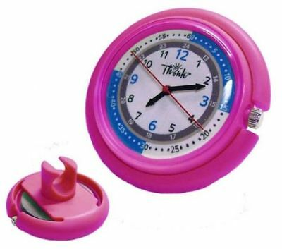 Stethoscope Watch Clip On- Medical Pulse Quadrant- Dual Second Hand Nurse *PINK*