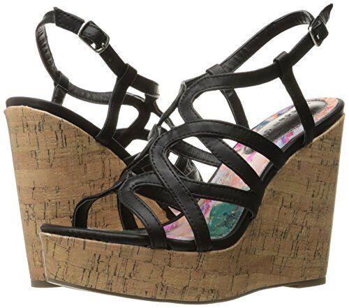 Madden Girl Women's Elmaa Black Cork Wedge Sandals - Size 9.