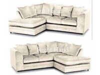 BRAND NEW High Quality Dylan Crush Velvet Corner Or 3+2 Sofa- Avlbl in Black, Silver & Mink