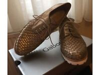 Gabor Ladies Real Leather Gold Metallic Eclisse Space Shoes Size 5.5 NEW IN BOX