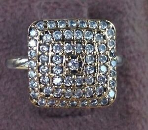 Handmade Square Drop CZ Solid 925 Sterling Silver Ring 5.5