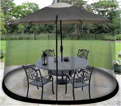 MOSQUITO Screen For Outdoor Patio Table Umbrella Net Cover Black Shade Netting ()