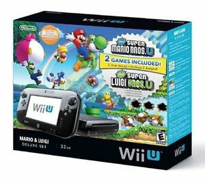Nintendo WiiU 32GB Deluxe Game System Black with 2 Games