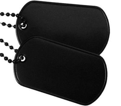 Black Chains (Black Military Army Blank Dog Tag Set w/ Black Ball)