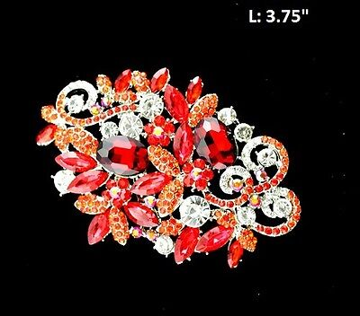 """3.75"""" Long Clear and Red Rhinestone Brooch Pin"""