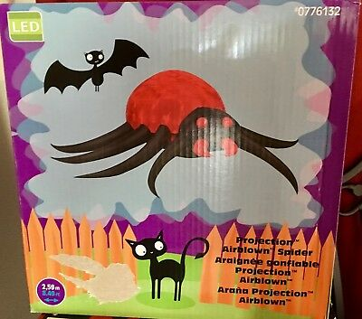 NIB~Halloween LED 8.5 FOOT WIDE PROJECTION AIRBLOWN SPIDER INFLATABLE BLOW UP - Blow Up Halloween Spider