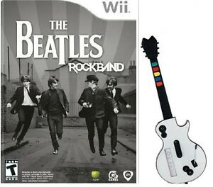 Wii & Wii U Beatles Rock Band Bundle (Game + Wireless Guitar) Please Read