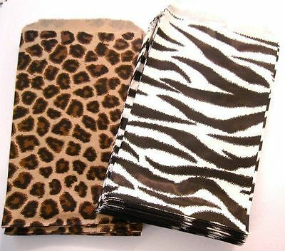 200 4 X 6 Small Paper Jewelry Bags 100 Leopard 100 Zebra Animal Print
