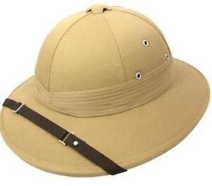 Safari Pith Khaki Deluxe Explorer Hunter Helmet Hat Fancy Dress Adult