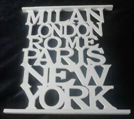 New White Wooden Cut Out Capital Cities Names Milan London Rome Wall Art Plaque.P& P INCLUDED!