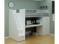 CABIN BED MID SLEEPER BED VGC WHITE