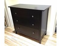 Ikea Hemnes Chest of 3 drawers, brown black