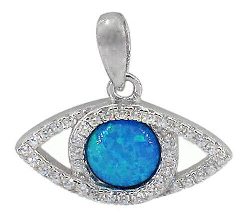 925 Sterling Silver Evil Eye Pendant with Blue Opal & White Cubic Zirconia