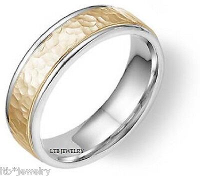 HAMMERED FINISH MENS WEDDING BANDS, 10K WHITE AND YELLOW GOLD MENS WEDDING