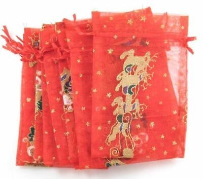 Red Gift Bags (10 Red Sleigh & Reindeer Bags, Christmas Holiday Gift Treat)
