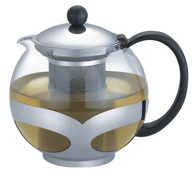 Stainless Steel Glass TEA POT Teapot  w. Strainer 1200 ML 5 CUP Fast Shipping!!
