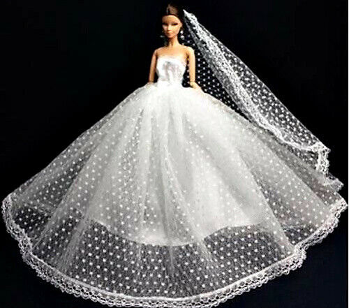 Barbie Wedding Dress Long Veil Barbie Shoes Long Gloves Hand