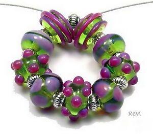 ROA-Lampwork-9-Lime-Purple-Designer-Set-Handmade-USA-Art-Glass-Beads-SRA