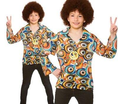 Jungen Kinder Groovy Hippie 60er Jahre 70er Hemd Kostüm Outfit Woodstock Neu (Kinder Jungen Hippie Kostüme)