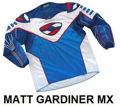 Alloy Motocross MX Moto Camiseta Shirt 04 SX Azul/Blanco/Azul Marino/Rojo XL