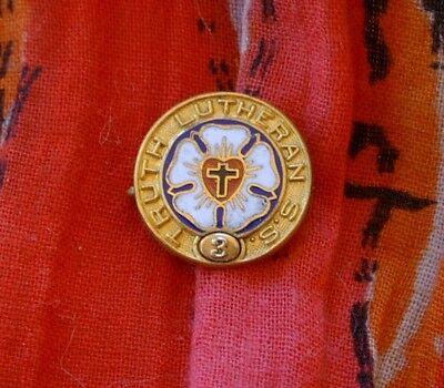 """Vintage Enamel LUTHERAN SS 3-Year Pin """"TRUTH"""""""
