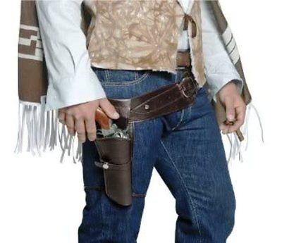 WESTERN COWBOY SINGLE HOLSTER ADULT MENS BROWN GUNMAN GUN COSTUME BELT & HOLSTER - Gun Holster Costume