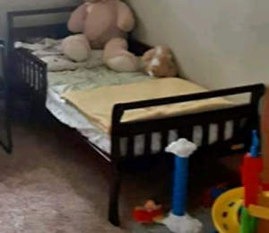 Sleigh Toddler Bed in Espresso Mattress Not Included Taken Apart