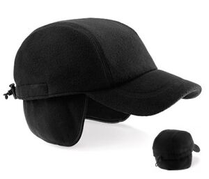 BLACK BLUE or CHARCOAL GREY Fleece Eiger Baseball Cap Hat with Ear Flaps