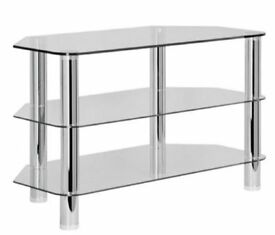 Clear glass and chrome effect TV stand