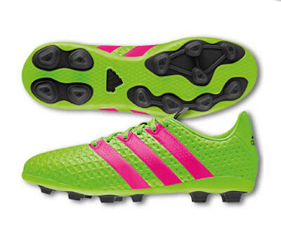12091f1f8d38 adidas Ace 16.4 FXG Youth Soccer Cleats Shoes Black Green Pink Size 2.5 NEW