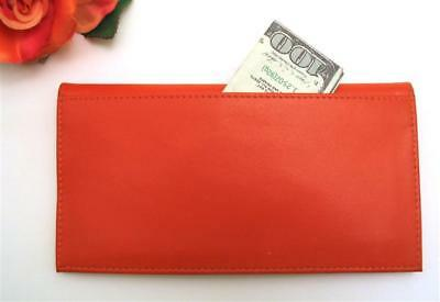 ILI Leather Checkbook Cover Credit Card & Pen Holder ~ ORANGE Leather RFID