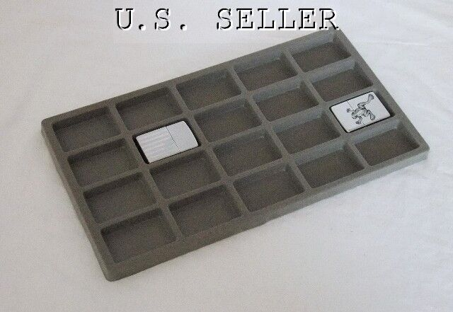 LOT OF 6 FLOCKED 20 COMPARTMENT INSERT 14 X 7 1/2 GRAY