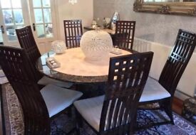 Crema Marfil & Empredor Marble Dining Table