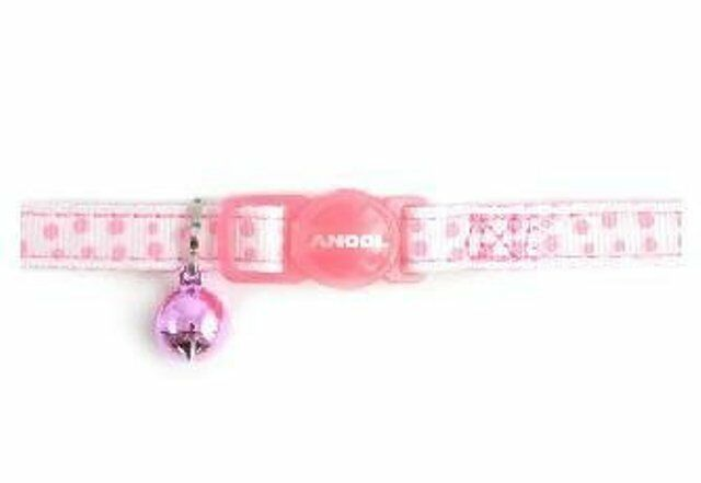 Ancol Nylon Soft Cat Collar Pink Dotty safety buckle + Bell