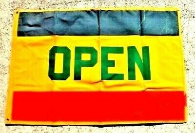 Open Street Flag Sign 20 X 30 Gold Red Blue Trim Green Letters Store Business