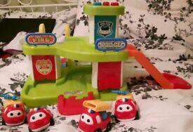 Toy car garage police fire station
