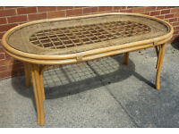Large Bamboo/Cane Dining Table wit Glass Top