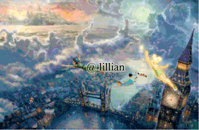 PRINCESS TINKERBELL AND PETER PAN FLYING Cross Stitch PATTERN