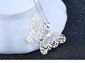 .925 Sterling Silver Butterfly Pendant Necklace
