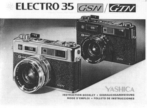 Yashica Electro 35 GSN GTN Instruction Manual photocopy multi-language