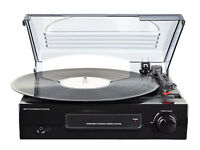 RECORD PLAYER with built-in amplifiers and speakers