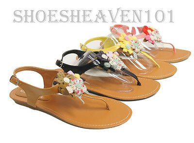 Fashion Women Flip Flop  Beaded Flower Flat Sandals Summer Shoes