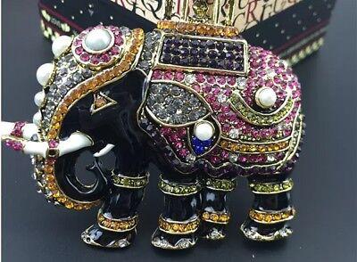 Large Elephant Lapel Pin  - beautifully decorated with rhinestone and enamel