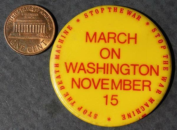 1969 Hippy Protest Moratorium to End Vietnam War Peace March on Washington pin!