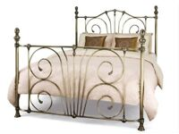 Double bed frame - antique brass effect