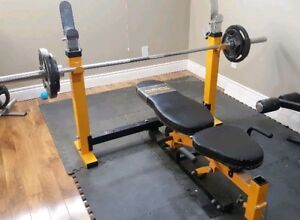 Powertec Olympic Bench Press with Weights + Bar no dumbbells