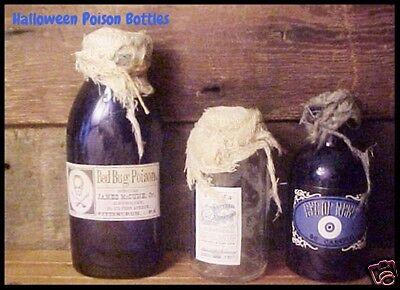3 Antique BLUE & New Glass Bottle Halloween POISON Labels Grunge Primitive Props](Poison Bottle Labels Halloween)