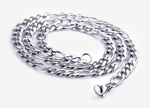 "6""-14""- 40""316L Men's Women's Kids Stainless Steel Necklace Chain Figaro Chain"