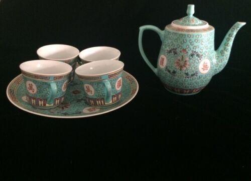 Vintage Chinese Turquoise Famille Rose Tea Set, Porcelain Mun Shou Longevity